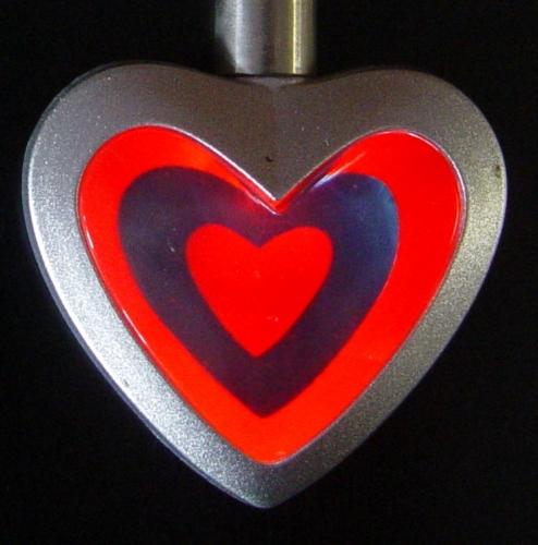 3D Halsketting hart rood-blauw