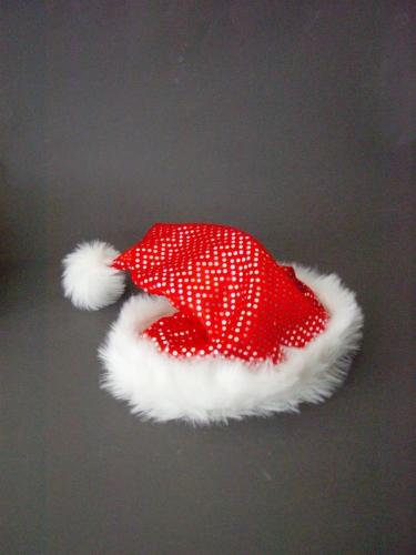 Kerstmuts rood met zilveren pailletten