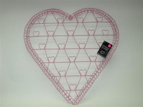 Hart metaal foto kaart houder roze