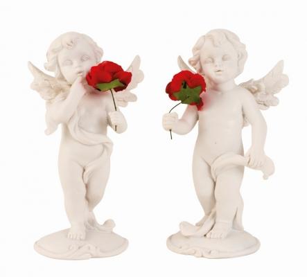Engel staand met roos groot
