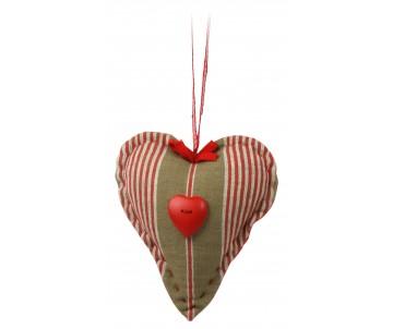 Stuffed heart rode strepen met knopen hart