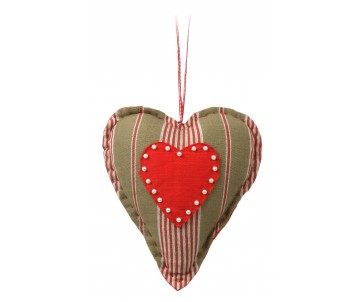Stuffed heart strepen met kraaltjes 20cm