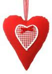 Stuffed heart uni rood met strik 20cm