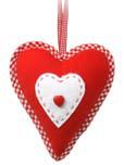 Stuffed heart uni rood met wit hart 20cm