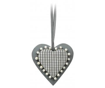 Houten hart grijs met ruit 15cm