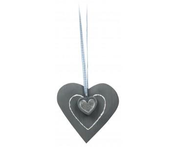 Houten hart grijs met hart 15cm