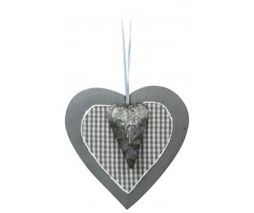 Houten hart grijs met klein ijzer hart 21cm