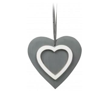 Houten hart grijs met wit 21cm
