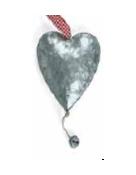 Dubbel zinken hart met bel groot
