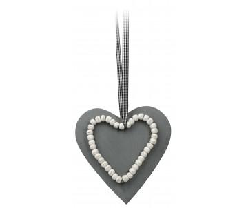 Houten hart grijs grote kralen 15cm