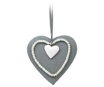 Houten hart grijs met witijzer hart. 21cm
