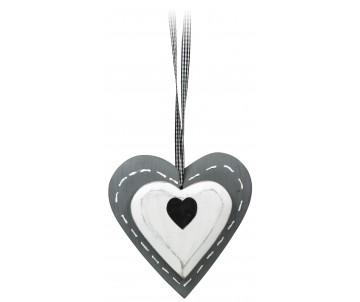 Houten hart grijs meet zwart detail 15cm