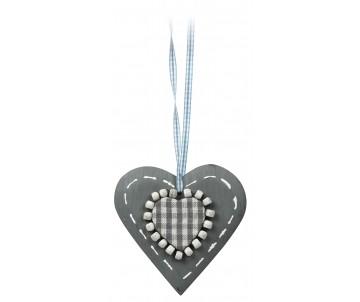 Houten hart grijs ruit details 10cm