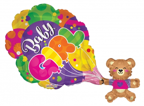 Baby Girl Bear en Balloons