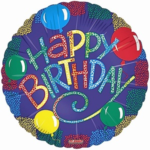 Happy Birthday optical balloons and streamers MC