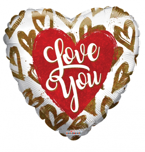 I love you golden hearts holographic ML