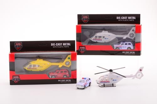 Die cast auto en Helicopter 2 assorti