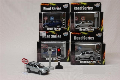 Road series volvo xc90 + flitspaal + verkeersborden