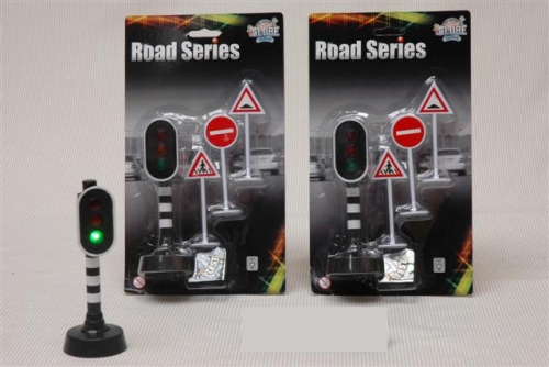 Road series stoplicht + 3 borden
