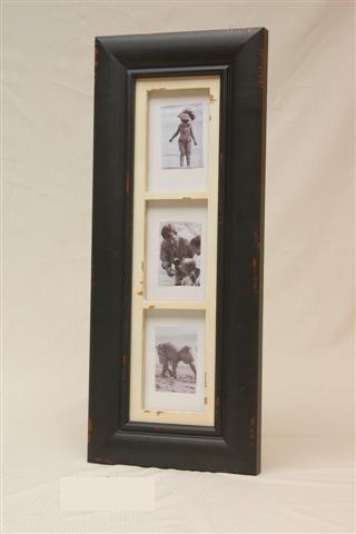 Fotolijst hout zwart 3 fotos