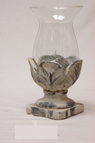 Windlicht glas op aardewerk voet