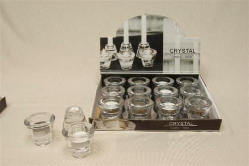 Sfeerlicht glas met theelicht 2 Ass. wit grijs