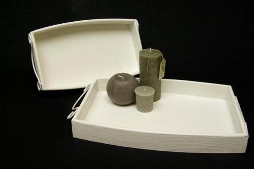 Dienblad hout wit set