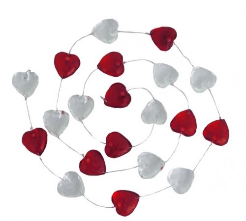 Acryl hartjes transparant/rood aan koord