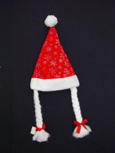 Kinder kerstmuts glitter met 2 staartjes