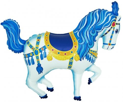 Carousel pony blauw