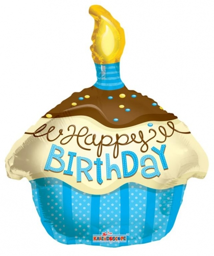 Happy Birthday Cupcake Blauw