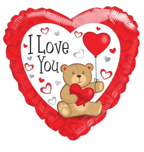 I love you bear with balloon