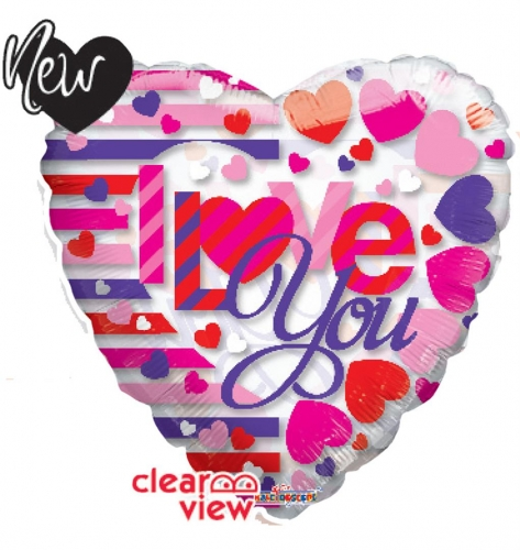 I love you floating hearts Clear Vieuw