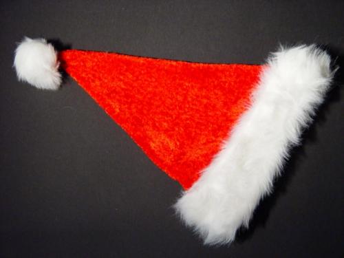 Kerstmuts fluweel rood