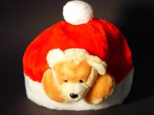 Kinder kerstmuts met pluche kerstbeer