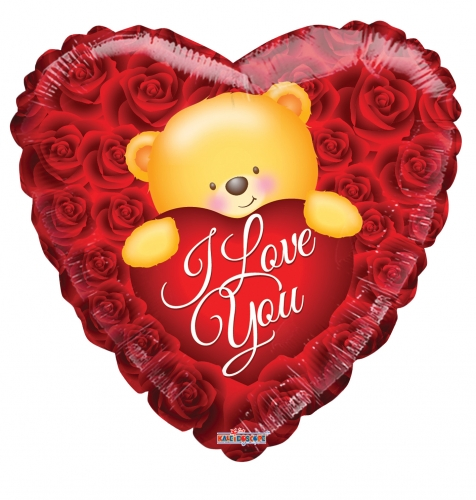 Love bear over roses
